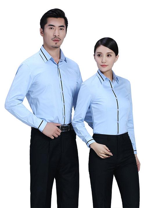 蓝色黑条翻领衬衫