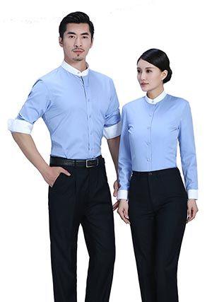 蓝色立白领衬衫