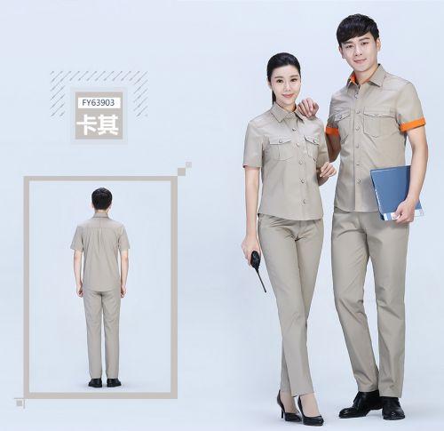 蓝白色夏季涤棉细斜短袖上衣工作服FY639