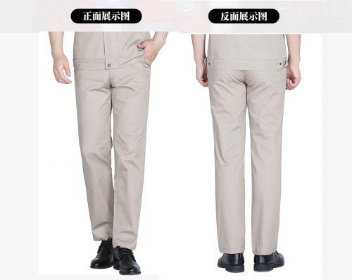 浅灰色夏季涤棉斜纹休闲工装裤