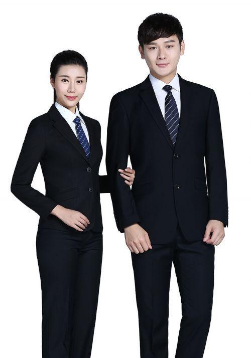 黑色黑色商务两粒扣西服FX001