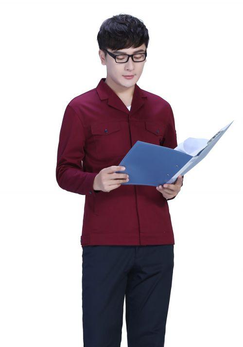 枣红色春秋工作服FY8001