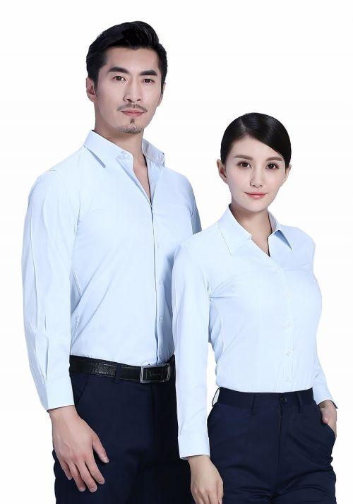 浅蓝色衬衫女商务长袖衬衫