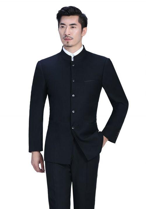 新款黑色男士商务中山男装